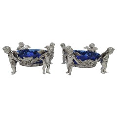 Pair of Antique German Silver Rococo Cherub Sweet Meat Dishes