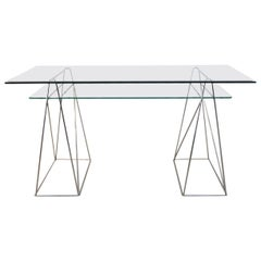 Chrome and Glass Trestle Leg Console Table or Desk