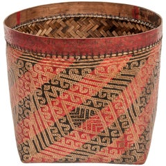 Large Vintage Wedding Basket. Woven Design, Iban of Borneo, Late 20th Century