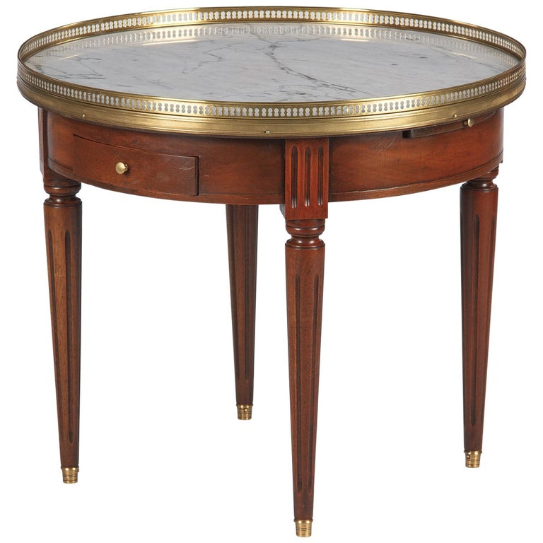 French Louis XVI Style Marble Top & Cherrywood Bouillotte Table, 1940s