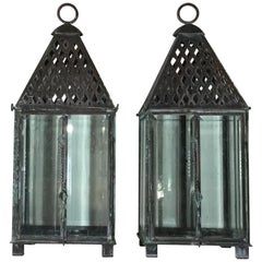 Pair of Handcrafted Copper Garden Candle Lantern