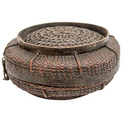 Tibetan Style Tribal Food Basket with Lid from Tibet or Bhutan, Mid-20th Century