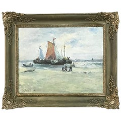 Antique Oil Painting on Canvas by A. Delvigne