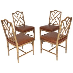 Set of Four Carved Faux Bamboo Dining Chairs