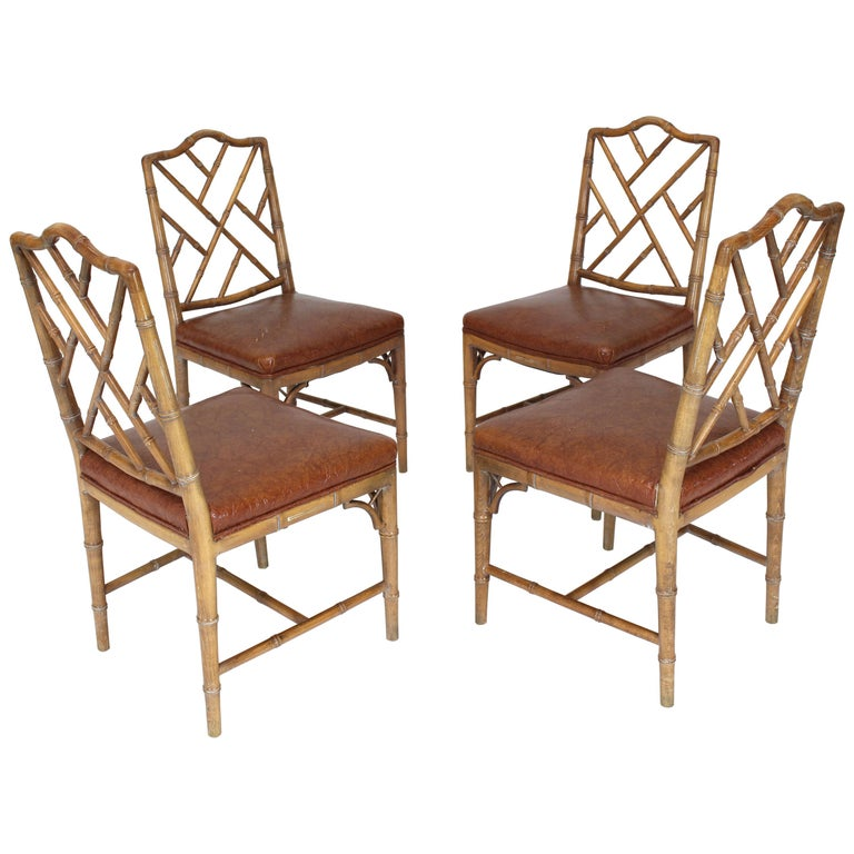 Set Of Four Carved Faux Bamboo Dining Chairs For