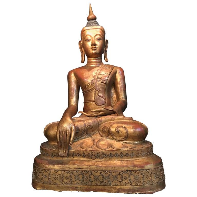 Life-Sized Shan Burmese Gilt Lacquer Papier Mâché Buddha, circa 1900 For Sale
