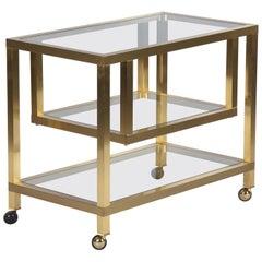 Maison Jansen Attributed Brass Bar Cart with Glass Tops, France, 1970s