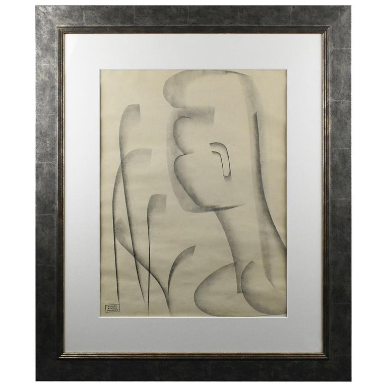 Atelier Etienne Poirier France, 1950s, Charcoal Drawing 'The African' For Sale