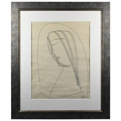 Atelier Etienne Poirier France 1950s Charcoal Drawing 'The Nun'