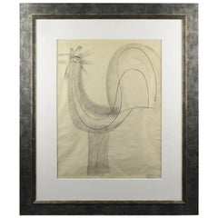 Atelier Etienne Poirier France 1950s Charcoal Drawing 'The Rooster'