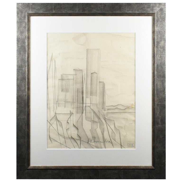 Atelier Etienne Poirier France 1950s Charcoal Drawing 'Alhambra'