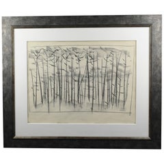 Atelier Etienne Poirier France 1950s Charcoal Drawing 'the Forest'
