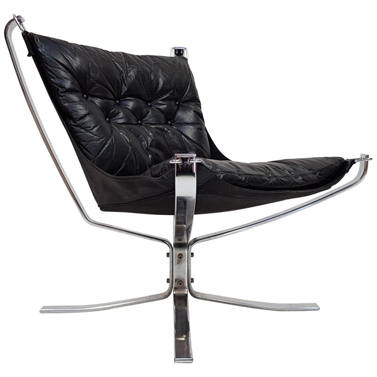 Chrome Based Low-Backed X-Framed Sigurd Ressell Designed 1970s Falcon Chair
