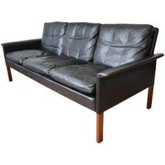 Hans Olsen Model 500 Black Leather Sofa