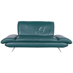 Koinor Rossini Designer Leather Sofa in Green  Turquoise Two-Seat Couch