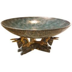 Italian Ceramic and Brass Fruit Bowl, Handmade