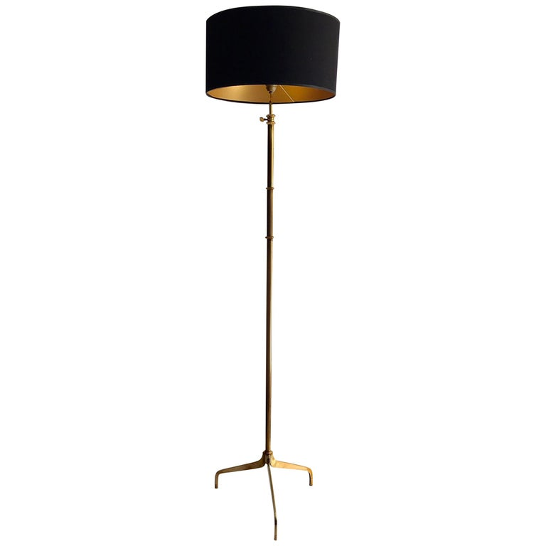 Midcentury French Brass Floor Lamp