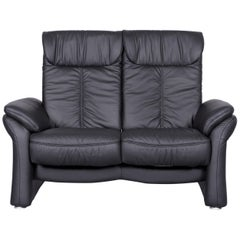 Casada Designer Leather Sofa Black Two-Seat Couch Recliner