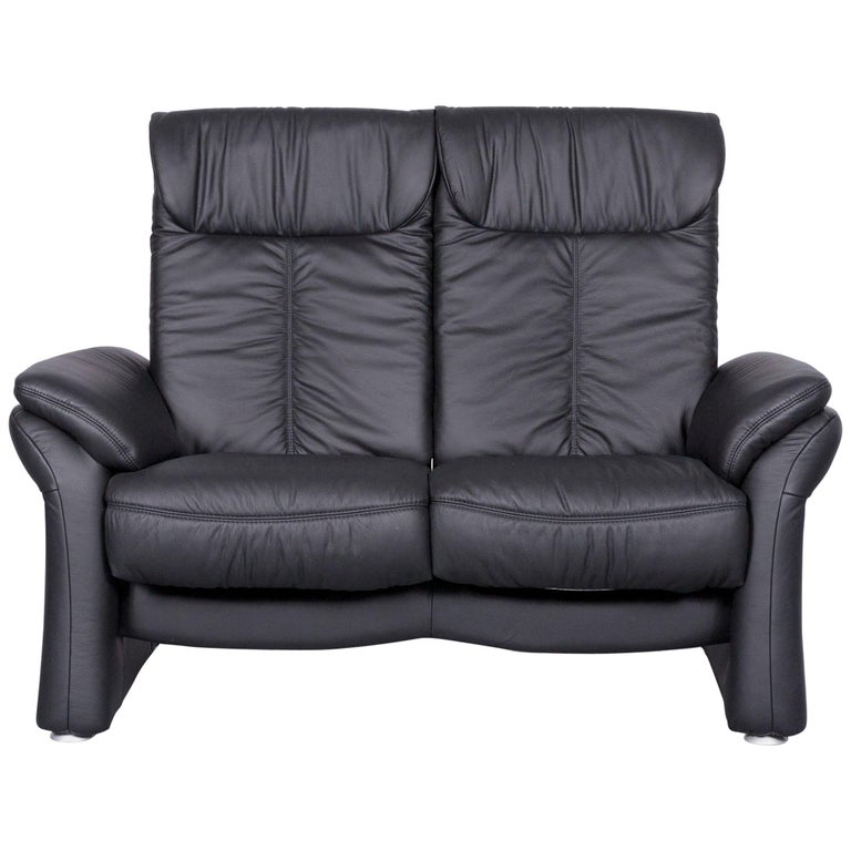 Casada Designer Leather Sofa Black Two Seat Couch Recliner For