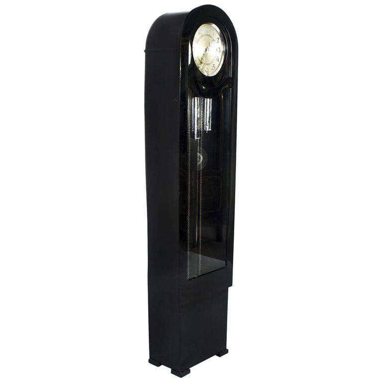 1930s Art Deco Black Lacquer Chiming Longcase Clock For Sale