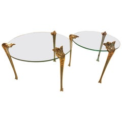Pair of Cut-Glass Side Tables with Polished Brass Ornamentations