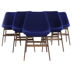 Set of Six Italian Midcentury Dining Chairs Upholstered with Blue Kvadrat Fabric