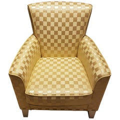 Check Pattern Fabric Armchair with Leather Seams