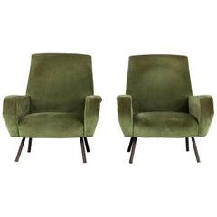Set of Two Midcentury Green Velvet Arflex Armchairs by Gianfranco Frattini