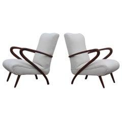 Pair Of Armchairs Mid-Century Modern Wood Fabric 1950 Italian Design