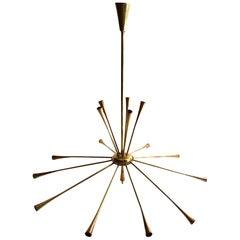 Italian Fifteen-Arm Sputnik Chandelier, 1950s