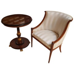 Biedermeier Style Armchair and Side Table Set