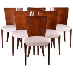 Czech Art Deco Chairs, Six Pieces, Designed by Jindrich Halabala, 1940-1949