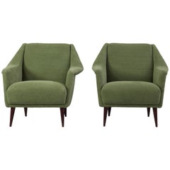 Set of Two Midcentury Green Model 802 Armchairs by Carlo de Carli for Cassina