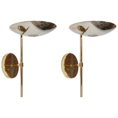 Pair of Brass and Bronze Wall Lights Spanish Design