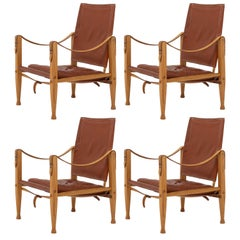 Set of Four Safari Chairs by Kaare Klint