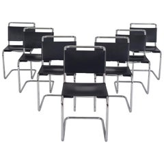 Chrome Tubular Dining Chairs with Black Saddle Leather, Set of Seven