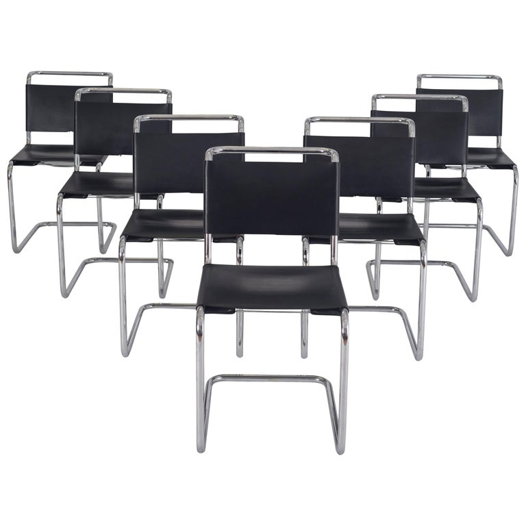 Marcel Breuer B33 Cantilever Leather Dining Chairs - 1950s