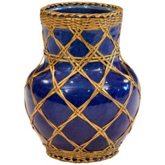 Antique Awaji Pottery Japanese Arts & Crafts Cup Brush Pot Jar Bronze Weave