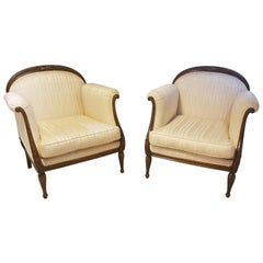Pair of Classic Design Armchairs Crème White and Walnut