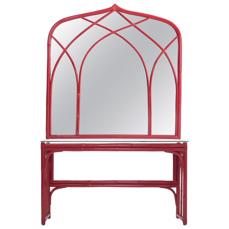 Vanity Table with Large Mirror in Red Lacquered Bamboo