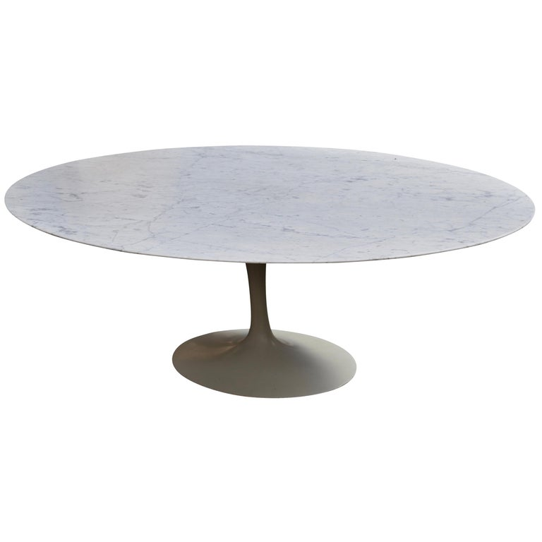 Oval Carrara Marble Dining Table by Eero Saarinen for Knoll