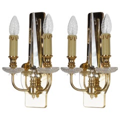 Pair of Brass and Crystal Wall Lights