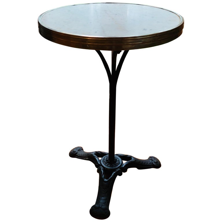 French Marble and Iron Bistro Table