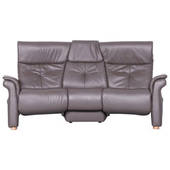 Himolla Designer Leather Sofa Grey Three-Seat Couch Recliner