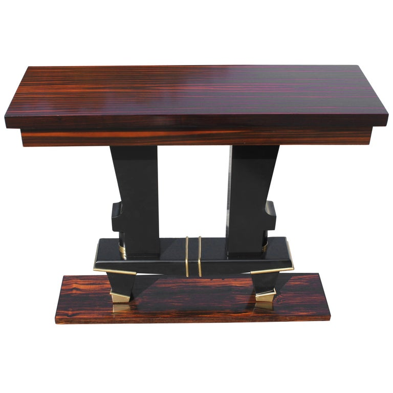 Classic French Art Deco Exotic Macassar Ebony Console Tables, circa 1940s For Sale