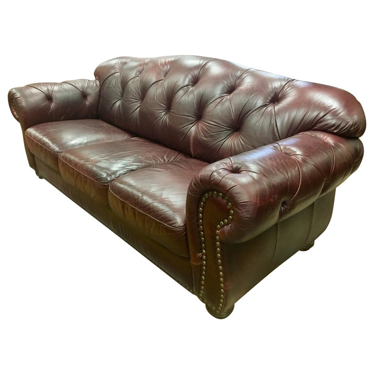 Vintage Chesterfield Oxblood Leather Nailhead Sofa Made In Italy For