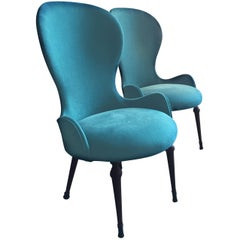 Deco High-Backed Italian Petrol Blue Lounge Chairs, 1940s