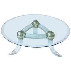 Lucite and Brass 'Tusk' Round Coffee Table, Italy, 1970s