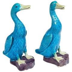 Pair of Chinese Export Porcelain Figural Ducks, 20th Century