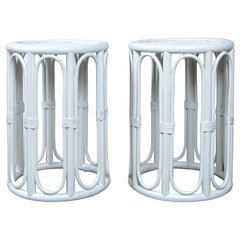 Pair of Cylindrical White Painted Rattan Side Tables